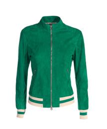 Suede Leather Bomber Jacket - Art. Baku green
