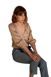Soft blouse with V-neck - Art. Acquamarina