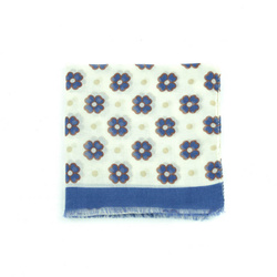Scarf - Art. Cashmere Scarf with Four-Leaf Clover Pattern in Blue and White