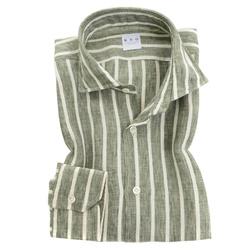Shirt - Art. Lino Verde A Righe Bianche