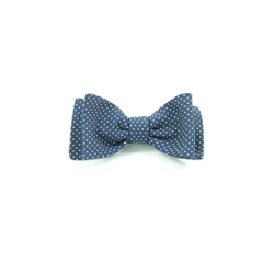 Bow Tie - Art. Hand-knotted Papillon Classic Blue Micro Polka Dot