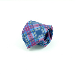 Tie - Art. Handmade 7-fold tie with check pattern in shades of bordeaux and classic blue in English style