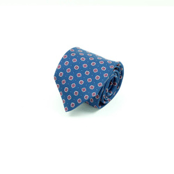 Tie - Art. Handmade 7-fold tie with geometric micro-pattern in bordeaux on a navy blue background