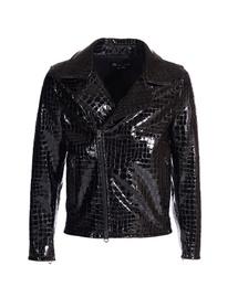 Leather Perfecto Jacket - Art. Doha black croco print