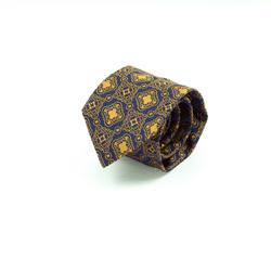 Tie - Art. Handmade 7-fold tie with gold yellow medallion design
