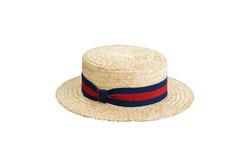 Hat - Art. Stiff Boater Blue Stripes