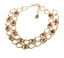 Chain necklace with pink stones