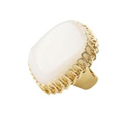 White square stone ring