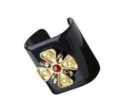 Black plexi bracelet with cross and stones