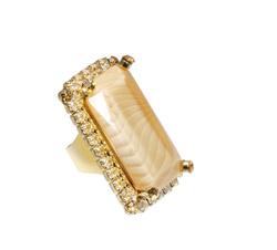 White Rectangular Stone Ring