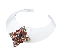 Plexi necklace cross red stones
