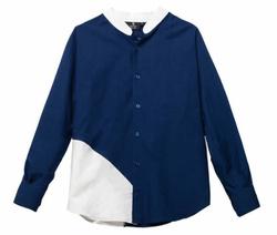 Blue Chambrai Shirt with Linen Insert