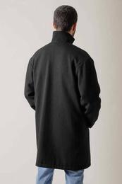 Black Whipcoard Coat in mixed Wool
