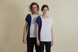 Linen T-Shirt with Chambray insert