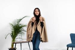 Cloak in Virgin wool and Camel fabric