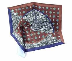 Art. Brown/Blue Silk Double Face Pocket Square