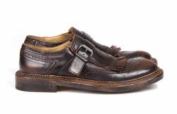 Dark Brown Monk Stripes Shoes - Art. 103