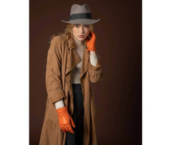Art. Grey Fedora Hat & Orange Leather Gloves