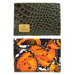 Cardholder - Art. Credit card holder Dark Brown and Vitaminic Orange Butterflies