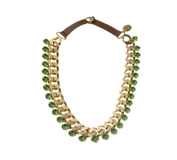 Green stones and leather necklace