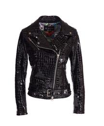 Leather Perfecto Jacket - Art. Nizza black croco print